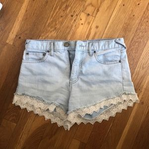 Free People Lace Trim Jean Shorts